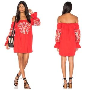 NWT Free People Off The Shoulder Embroidered Dress